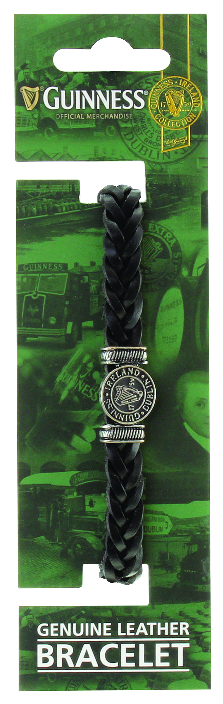 Guinness® Genuine Black Leather Harp Bracelet