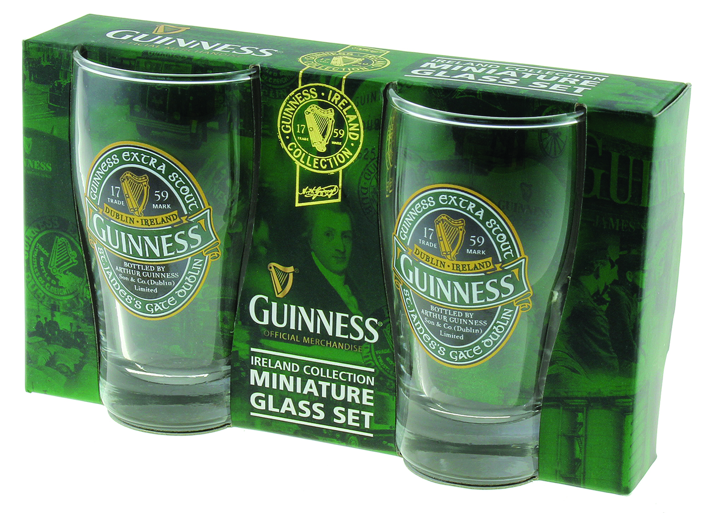 GUINNESS® GREEN COLLECTION MINIATURE GLASS SET OF 2