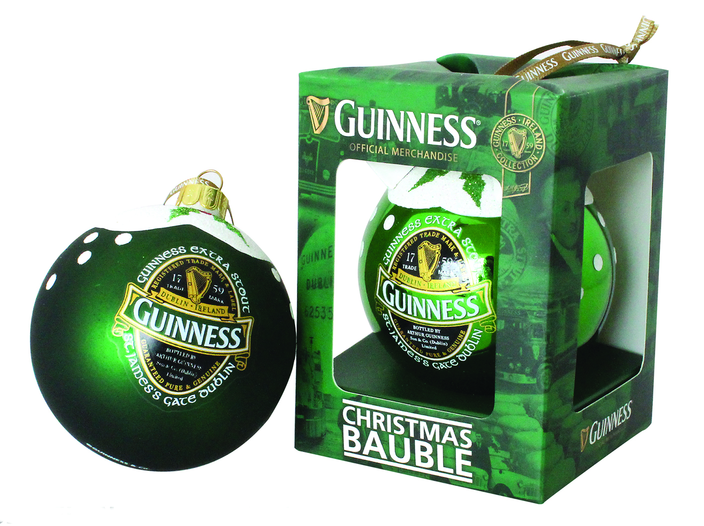 Guinness® Green Collection Christmas Bauble - Soft Sheen Finish