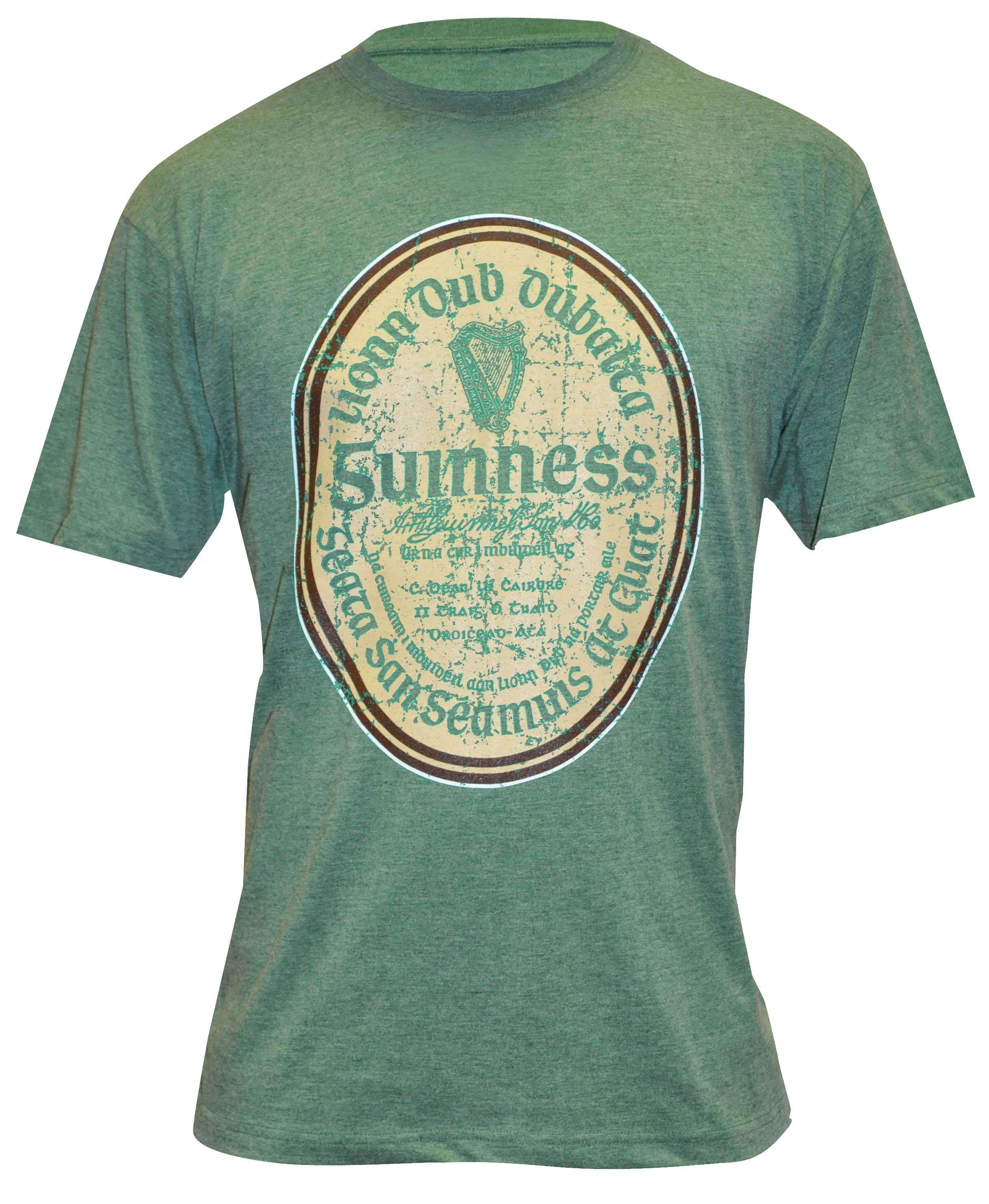 Guinness® Green Distressed Gaelic Label T-Shirt